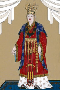 Queen Seodeok portrait. Full body portrait with mainly red, gold and dark bue outfit and jewelry. She is wearing a large crown.