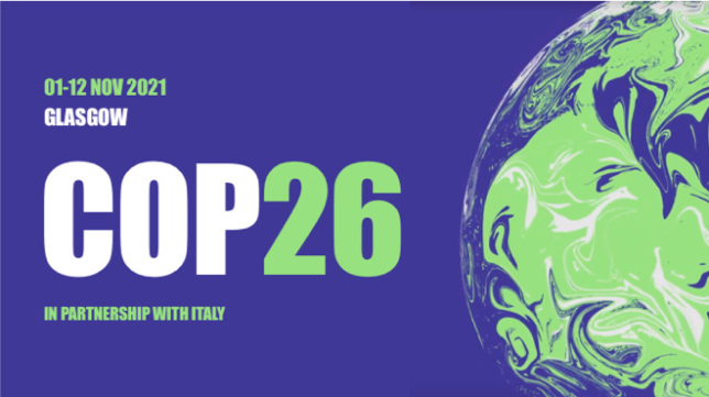 COP26 Glasgow Logo. COP26 in bold letters and a snapshot of the world in green and purple. Dates 1st-12th November 2021.