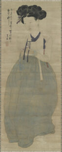 Full body portrait of a Gisaeng. Her hair is up and her skirt is light blue.