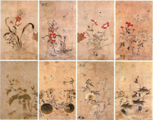 8 flowers paintings by Shin Saimdang. The background is off-white and the main colours are green, red and blue.