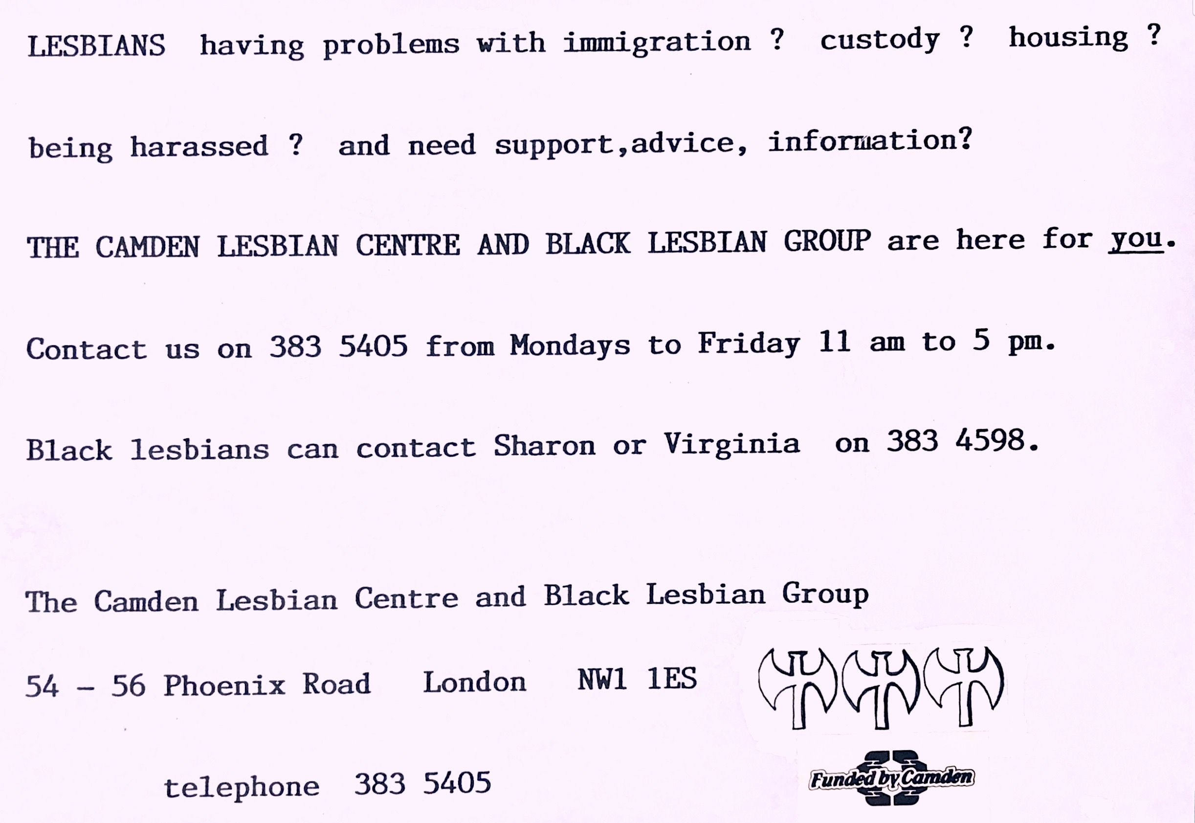Text-based flyer for Camden Lesbian Centre & Black Lesbian Group, offering advice and support for lesbians with immigration, custody, housing, harassment problems.