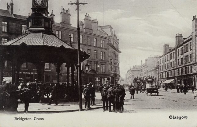 Image of Bridgeton Cross from 1889, showing the tram line and the buildings