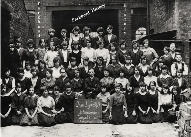 A group of finishers (predominantly women) from John Lyle's Bloomvale Carpet factory, Bridgeton c. 1922