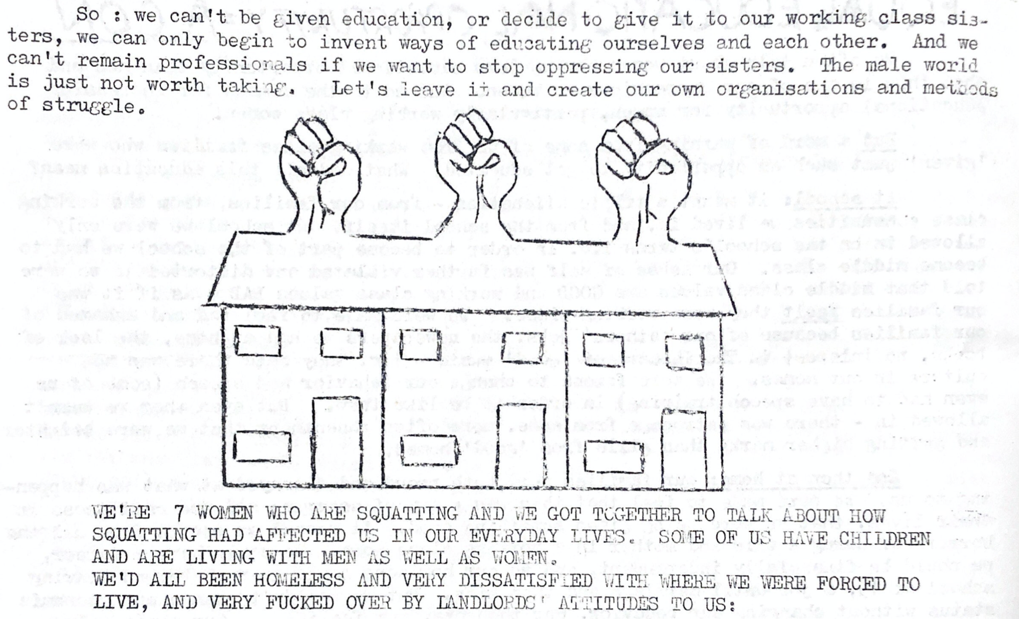 Excerpt from the Libertarian Women's Network Newssheet no. 11 (c.1972), featuring an illustration of a row of terraced houses with a raised fist coming out of each roof. The text above and below discusses how seven women in Oxford established their own methods of learning and teaching each other about struggle, including a squat.