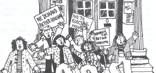 Illustration of a group of people protesting outside a Town Hall, holding placards with slogans like 'Women demand better housing' and 'No to electric houses'