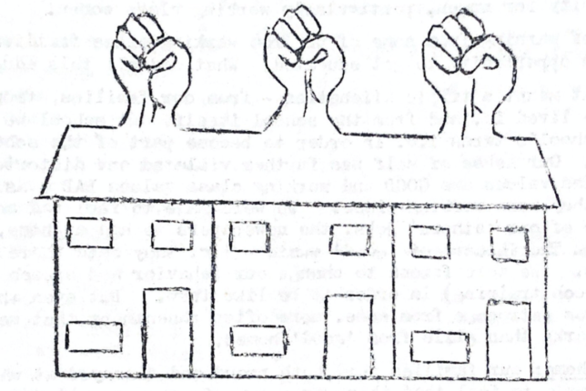 Illustration of a row of three terraced houses with fists raised out of their roofs.