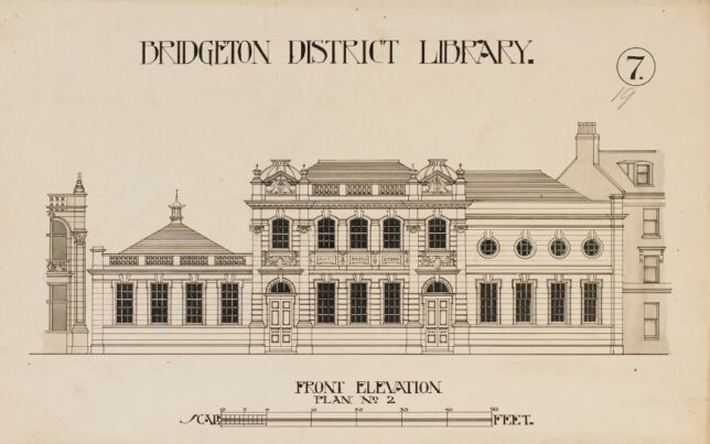 Image of the original building plans for the library at 23 Landressey street, showing front view of the building's original architecture and layout