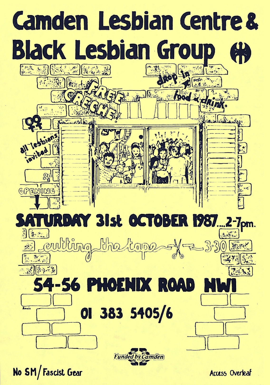 Poster for the ribbon-cutting ceremony and opening day of CLC&BLG, featuring the group's name and a labrys in bold black at the top centre. Below it, an illustration of a group of people partying and celebrating, drawn through a window looking in. Graffiti around the windowframe includes 'drop in 4 food + drink', 'free creche!' and 'All lesbians invited'. The event is scheduled for 2-7pm, Saturday 31 October 1987.