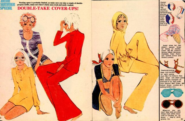 """1970s fashion spread from Jackie Summer Special titled """"Double-Take Cover Ups!"""""""