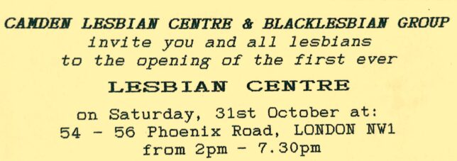 Invite to the opening of CLC&BLG, giving details of the date (31 October 1987), time (2-7.30pm), and location (54-56 Phoenix Road) of the event.