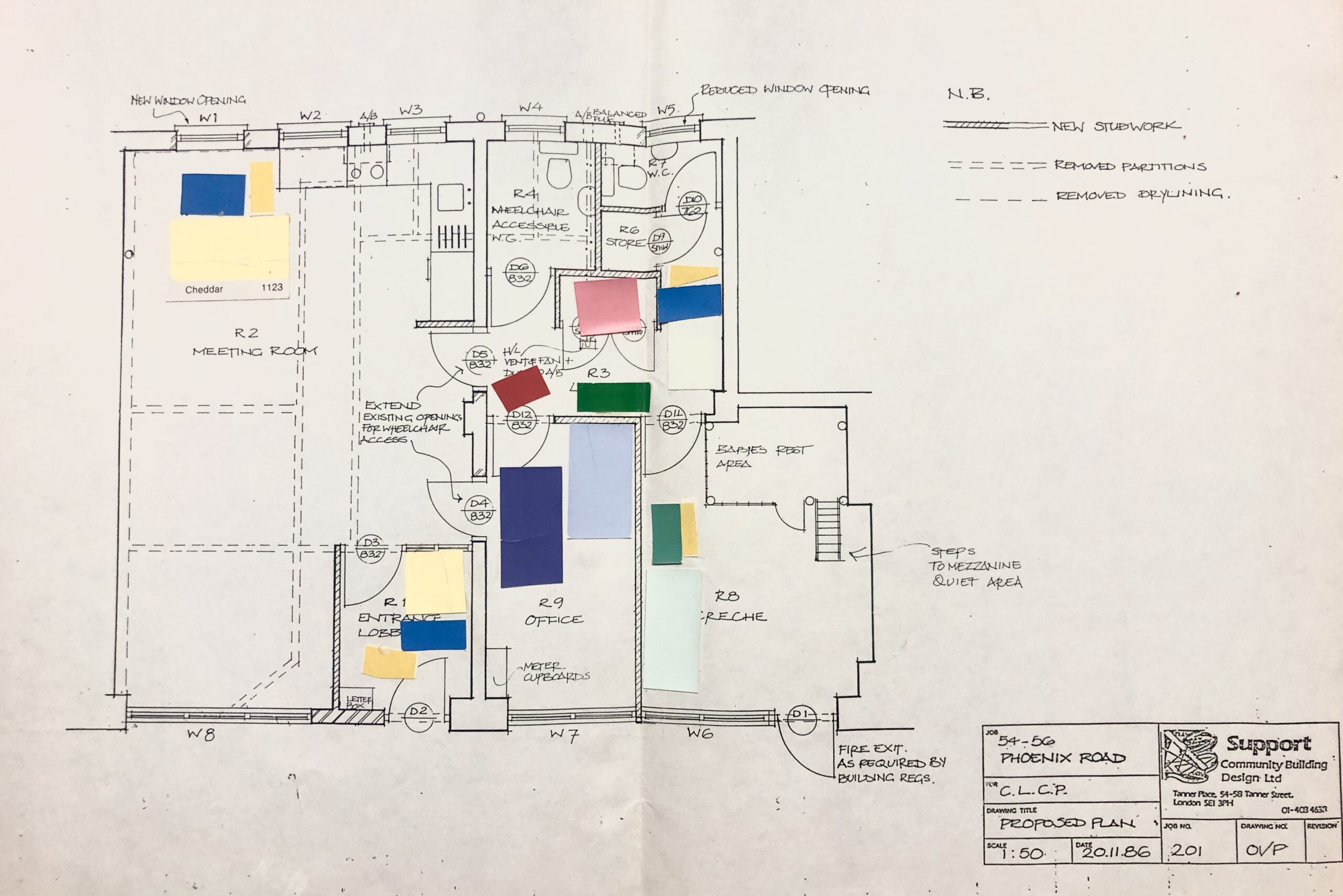 Architectural floor plan of CLC&BLG's new premises, with coloured squares stuck into different rooms indicating the colourplans of those rooms.