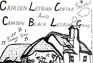 Camden Lesbian Centre and Black Lesbian Group flyer, featuring their name above an image of a house with the words ,Sharon,s Disco, in a cloud of musical notes.
